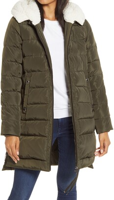 Sam Edelman Puffer Coat with Faux Shearling Lined Hood