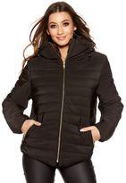 Quiz Black Padded Faux Fur Collar Zip Jacket