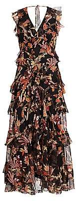 Zimmermann Women's Wavelength Frilled Floral Silk Maxi Dress