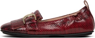 FitFlop Allegro Dotted-Snake Leather Ballerinas