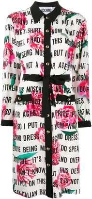Moschino Logo-Print Mid-Length Shirt Dress