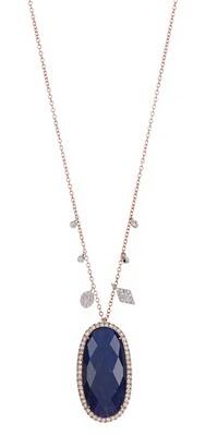 Meira T 14K Rose Gold Faceted Labradorite Oval Pendant & Pave Diamond Fringe Necklace