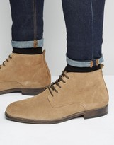 Asos Lace Up Chukka Boots In Stone Suede