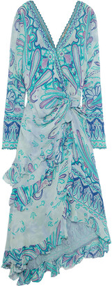 Etro Wrap-effect Embellished Printed Silk-georgette Midi Dress