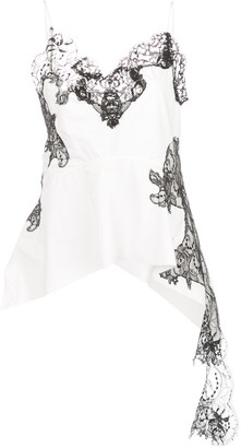 Marques Almeida Draped Lace-Panel Cami Top