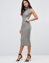 Club L High Neck Metallic Rib Midi Dress