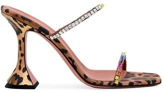 Amina Muaddi Gilda Crystal-Embellished Leopard-Print Satin Mules
