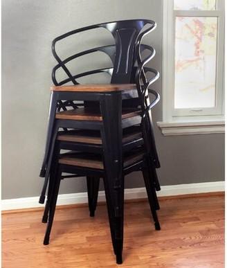 Roark Metal Slat Back Folding Arm Chair in Black Williston Forge