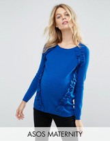 Asos Sweater with Raglan and Ruffle Detail