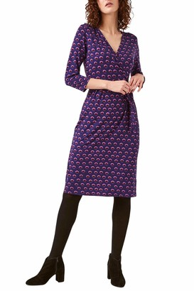 Ex White Stuff White Stuff Womens Navy Purple Pink Abstract Spot Print Midi Jersey Wrap Dress Size 10
