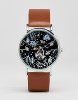 Reclaimed Vintage Paisley Leather Watch In Brown