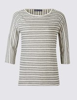 Marks and Spencer PLUS Cotton Rich Striped 3/4 Sleeve T-Shirt