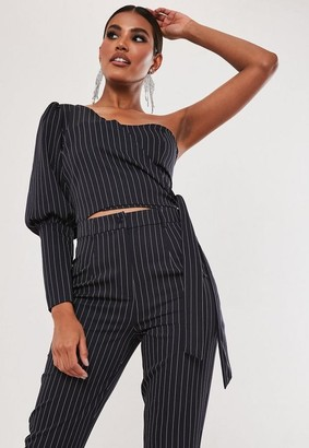 Missguided Navy Pinstripe Co Ord One Shoulder Tie Side Crop Top