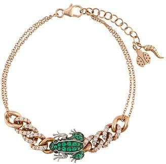 Pippo Perez 18kt rose gold frog diamond curb chain bracelet
