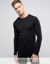 Tommy Hilfiger Long Sleeve Top Flag Logo in Black Exclusive to ASOS