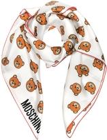 Moschino White Multi Teddy Bear Print Twill Silk Square Scarf