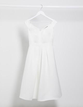 Little Mistress bridal midi prom dress in off white