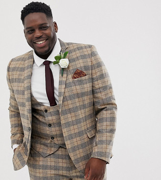 Twisted Tailor plus skinny suit jacket with chain in heritage brown check-Tan