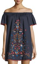 Tory Burch Wildflower Off-the-Shoulder Embroidered Cotton Coverup Dress
