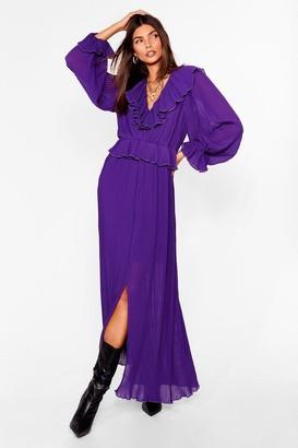 Nasty Gal Womens Pleased to Pleat You Ruffle Maxi Dress - Purple