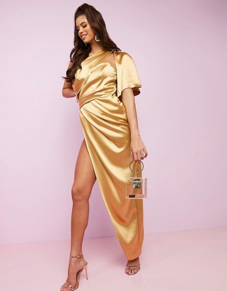 Asos DESIGN Luxe fallen one shoulder high low premium satin drape maxi dress with hidden boning