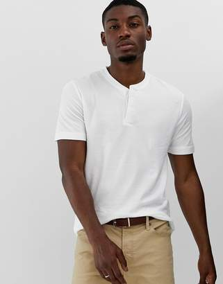 Jack and Jones open collar smart t-shirt in pique jersey-White