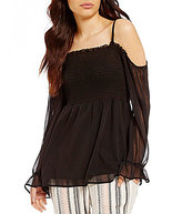 I.N. San Francisco Smocked Bodice Off-The-Shoulder Bell-Sleeve Top