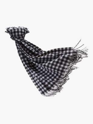 Pure Collection Soft Wool Blanket Scarf, Black/White Check