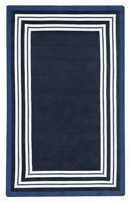 Pottery Barn Teen Capel Multiple Border Rug, 3'x5', Charcoal/White/Navy