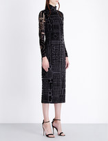 Burberry Turtleneck velvet-jacquard dress