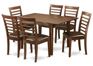 East West Furniture 7-piece Kitchen Nook Dining set-Breakfast Nook and 6 Dining Chairs in Mahogany