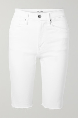 Frame Le Vintage Bermuda Frayed Denim Shorts - White