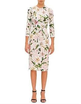 Dolce & Gabbana Lilium Orint L/S Print Cady Dress