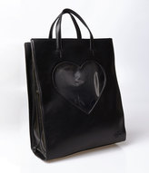Heart of Glass Valfre Black Leatherette & Clear Heart Tote BackpackValfre Black Leatherette & Clear Heart Tote Backpack
