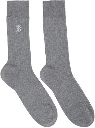 Burberry Grey Embroidered Monogram Socks