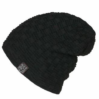 Dawwoti Women's Faux Fuzzy Fur Beanie Hat Soft Cable Cuff Beanie Stretch Baggy Hat (Black One Size)