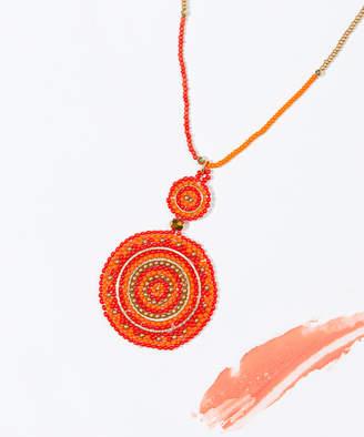 Zad ZAD Women's Necklaces red/orange - Orange & Goldtone Boho Dream Beaded Pendant Necklace