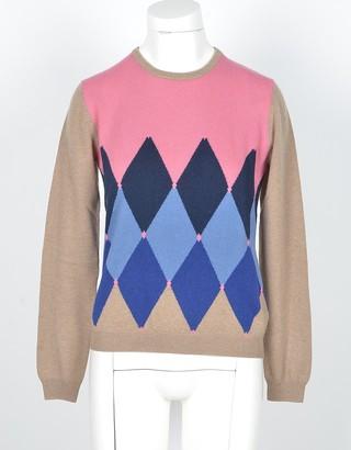 Ballantyne Camel Cashmere Women's Sweater w/Argyle Inlay