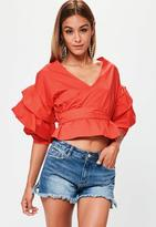 Red Wrap Gathered Sleeve Blouse, Red