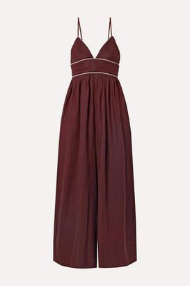 STAUD Figue Linen Jumpsuit - Burgundy