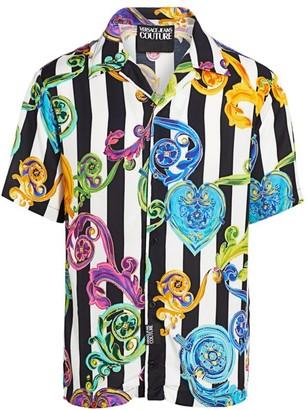 Versace Short-Sleeve Striped Print Shirt