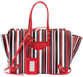 Balenciaga Papier Zip-Around A4 Striped Tote Bag, Red