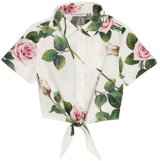 Dolce & Gabbana Kids Tropical Rose Tie-Waist Shirt (8-12 Years)