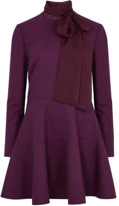 Valentino Dark Purple Flared Mini Dress