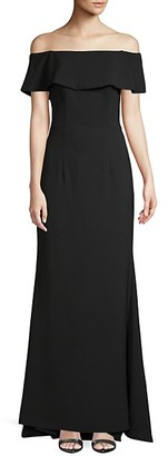 Carmen Marc Valvo Off-The-Shoulder Crepe Gown
