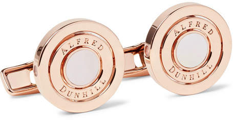 Dunhill Gyro Rose Gold-Plated Mother-Of-Pearl Cufflinks