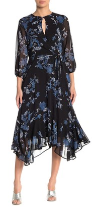 Gabby Skye 3/4 Sleeve Floral Print Chiffon Dress