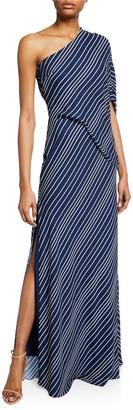 Halston Asymmetric-Sleeve Striped Gown