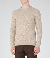 Reiss Reiss Panther - Cable Knit Jumper In Brown
