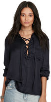 Denim & Supply Ralph Lauren Satin Lace-Up Top